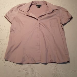 apostrophe stretch short sleeve button down top